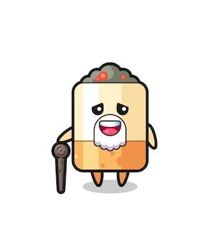 Il simpatico nonno della sigaretta tiene in mano un bastoncino, un design carino