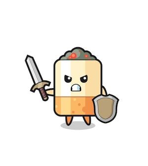 Simpatico soldato di sigarette che combatte con spada e scudo, design carino