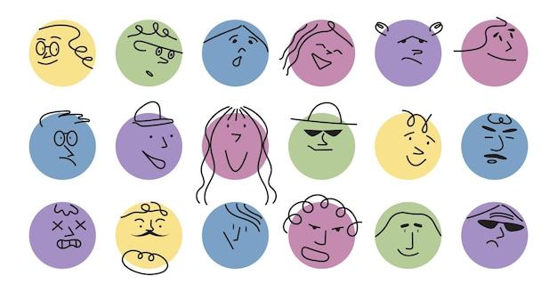 I volti geometrici astratti del cerchio carino impostano le emozioni su macchie colorate