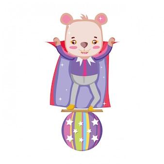 Simpatico orso da circo con strato in mongolfiera
