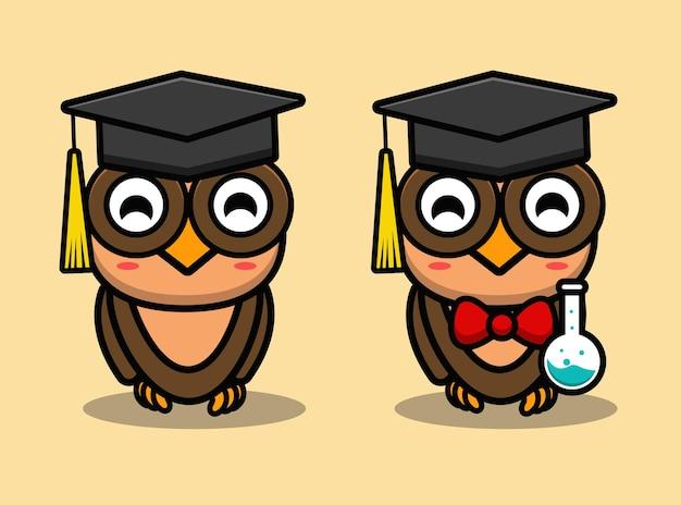 Simpatico cartone animato mascotte gufo scienziato intelligente