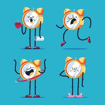 Simpatici personaggi dei cartoni animati di orologio impostato isolato su priorità bassa.