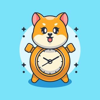Simpatico disegno di cartone animato scimmia orologio