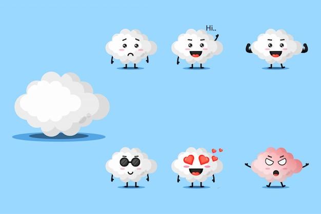 Simpatico set di design mascotte nuvola