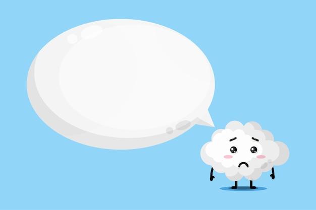 Simpatica mascotte nuvola con discorso bolla