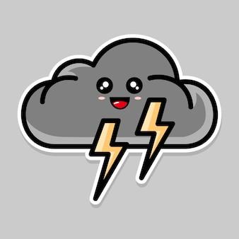 Simpatico cartone animato nuvola e tempesta