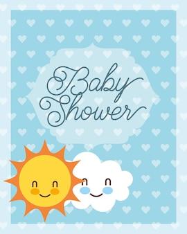 Carta di baby shower carino nuvola e sole dei cartoni animati Vettore Premium