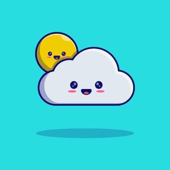 Simpatico disegno di illustrazione vettoriale della mascotte del personaggio del sole e della nuvola