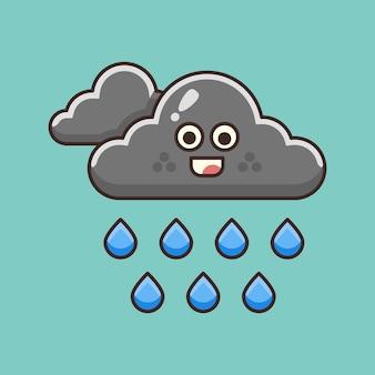 Illustrazione di pioggia nuvolosa carina