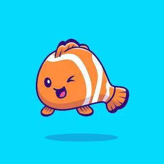 Illustrazione sveglia di vettore del fumetto del pesce pagliaccio. vettore isolato concetto animale di mare. stile cartone animato piatto