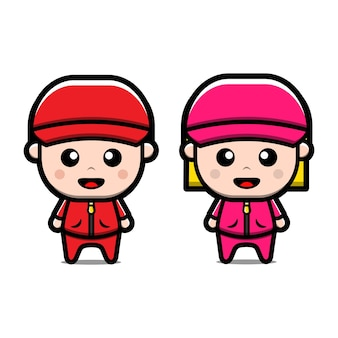 Simpatico personaggio dei cartoni animati di ragazzo e ragazza di sport allenatore