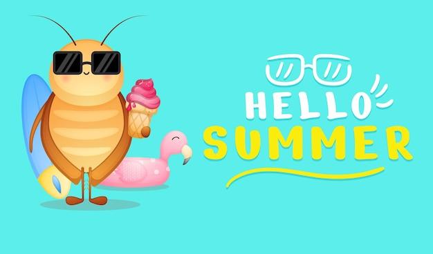 Simpatico scarafaggio che tiene il gelato con banner di auguri estivi