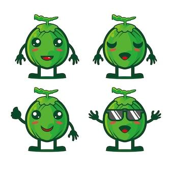 Collezione di set di cartoni animati di cocco carino illustrazione vettoriale personaggio mascotte di cocco in stile piatto cartone animato