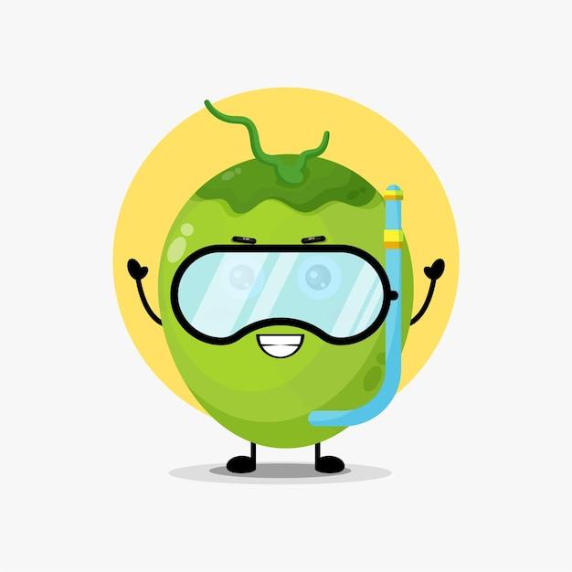 Simpatico personaggio di cocco nell'attrezzatura subacquea