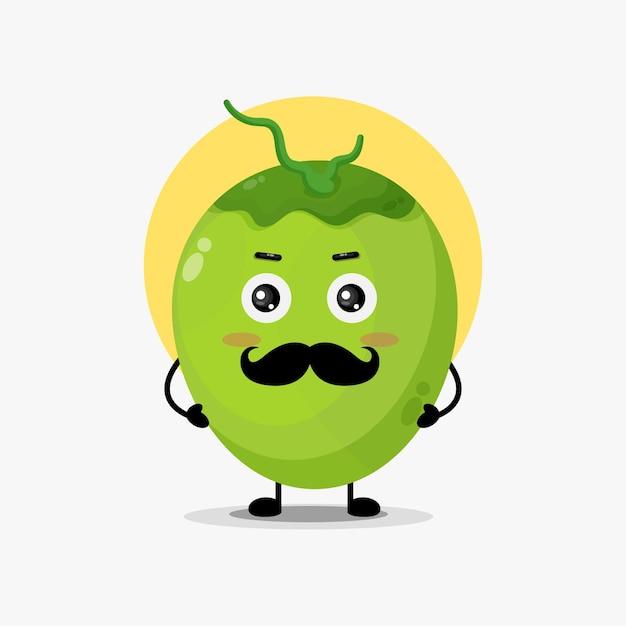 Simpatico personaggio di cocco con i baffi