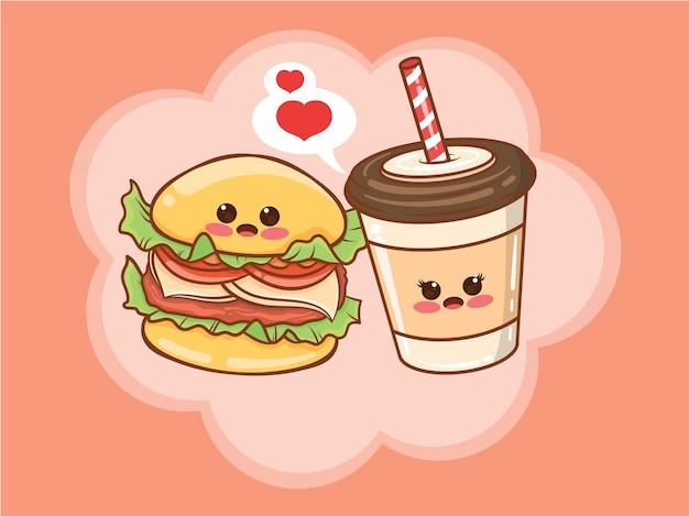 Concetto di coppia di hamburger carino tazza di caffè. cartone animato