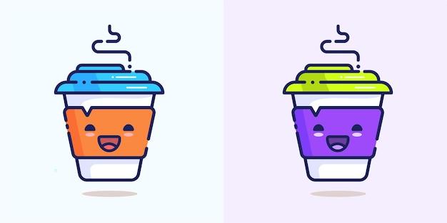 Illustrazione sveglia dell'icona di vettore del fumetto della tazza di caffè
