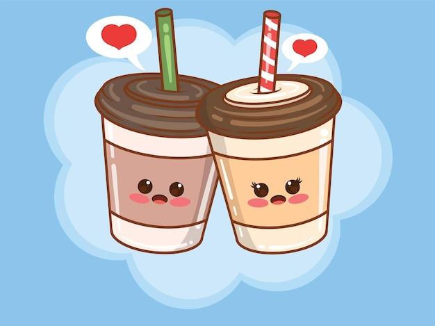 Concetto di coppia tazza di caffè carino. cartone animato