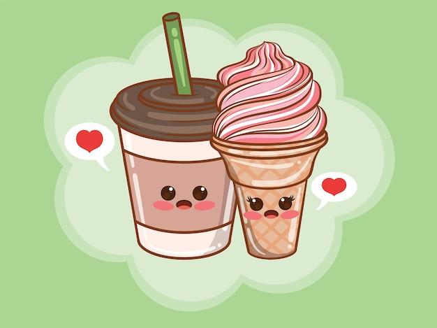 Concetto di coppia carino tazza di caffè e gelato. cartone animato