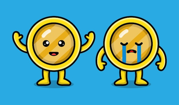 Illustrazione di cartone animato simpatico personaggio moneta