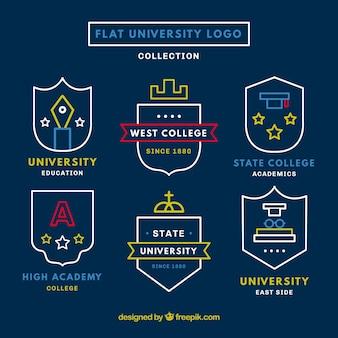 Collezione sveglia di loghi universitari in design piatto