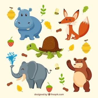 Cute raccolta di animali smiley