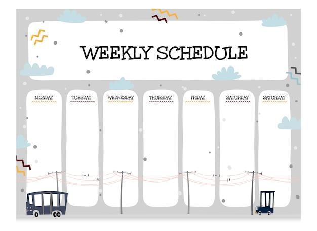 Collezione carina di modello di programma settimanale