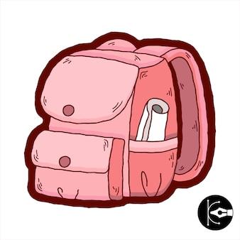 Illustrazione colorata carina di una borsa a zaino.