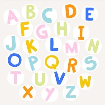 Simpatiche lettere dell'alfabeto colorate per bambini illustrazione di stile ritagliata di carta