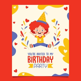 Modello di carta di compleanno colorato carino