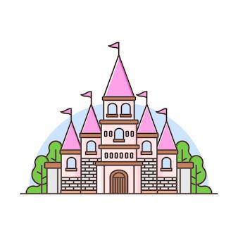 Paesaggio del castello colorato carino con alberi