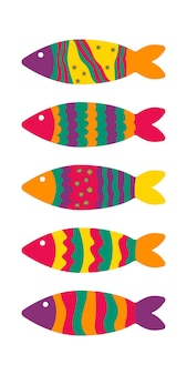 Simpatico pesce colorato in stile doodle modello per la creazione di elementi tessili
