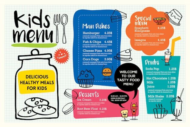Modello di menu pasto carino bambini colorati