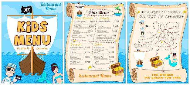 Simpatico menu colorato per bambini con sirena del gioco dei pirati