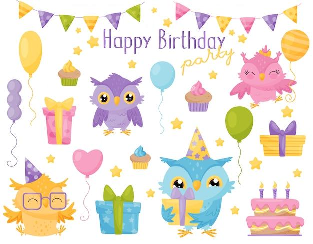 Simpatiche civette colorate, elementi di design per la festa di compleanno possono essere utilizzati per biglietti d'auguri, inviti, adesivi, stampe illustrazione
