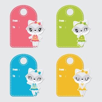 Carino personalizzato procione colorato per set di tag regalo di compleanno