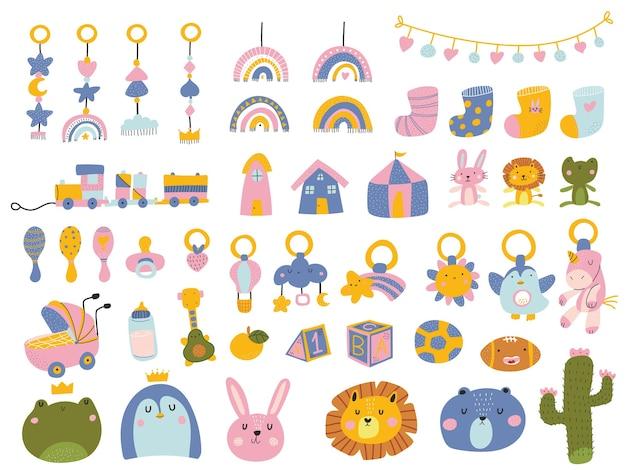 Illustrazione di elementi doccia del bambino sveglio colorato in stile scandinavo