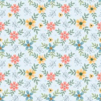 Modello senza cuciture carino fiori piccoli colorati.