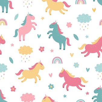 Carino unicorni colorati arcobaleno fiore nuvola pioggia seamless pattern luminoso