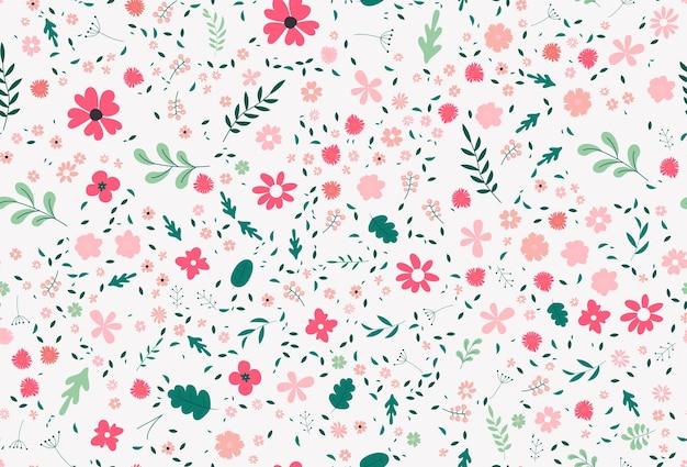Texture vettoriale colorato carino con fiori, foglie e piante. illustrazione con elementi naturali. modello nuovo di zecca per la tua attività.