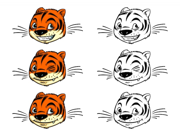 Tigre piccola testa da colorare carino