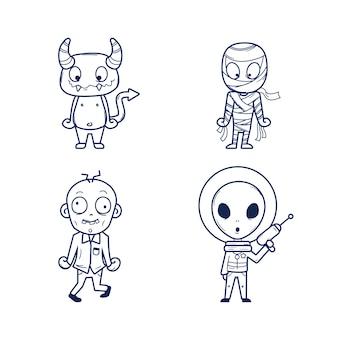 Colorazione carina per bambini con alieni