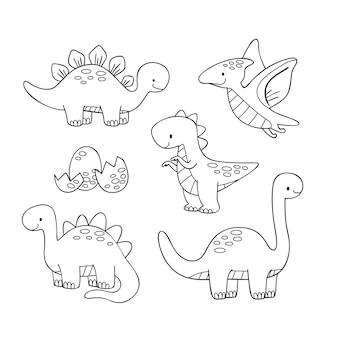 Colorazione carina per bambini con dinosauri