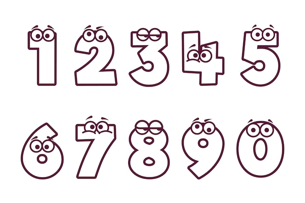 Colorazione carina per bambini con numeri