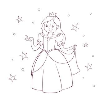 Colorazione carina per bambini con principessa