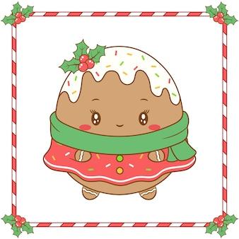 Simpatica ragazza da colorare merry christmas con biscotti allo zenzero con bacche rosse e sciarpa verde per la stagione invernale