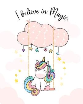 Carino colorato ranibow magical unicorn su clloud swing, happy pony cartoon doodle, credo nell'illustrazione magica