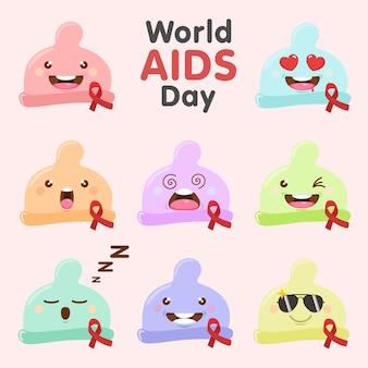 Simpatici personaggi del preservativo insieme della giornata mondiale contro l'aids