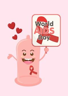 Preservativo carino che tiene il segno della giornata mondiale dell aids