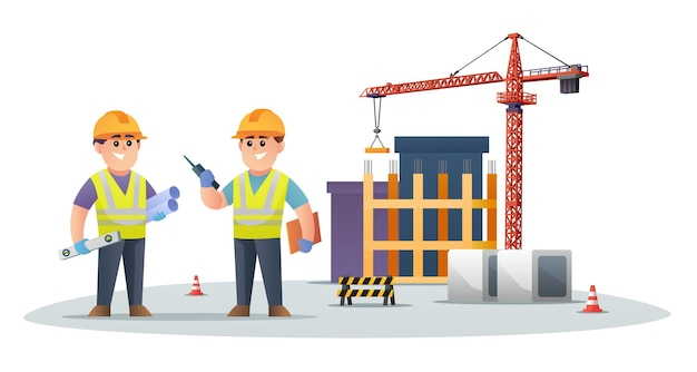 Simpatici personaggi di ingegnere edile in cantiere con illustrazione di gru a torre